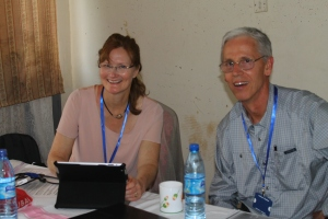 Dr. Judy and Dr. Mark Gustafson preparing for their next lecture during the Anesthesia and Obstetrics Conference at the Regional Referral Hospital in Mbale Uganda.