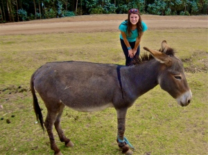 Lillian Alexander with a mule in Duna, Ethiopia.