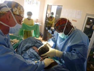 Dr. Mark Gustasfon during a c-section at Mbale Regional Referral Hospital
