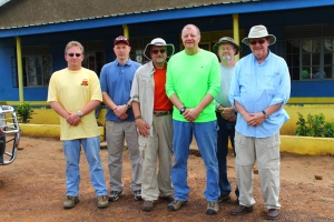 Photo by: April ParsonsPastor Tony (left) with his delegation at the Butiru Cristco health center in Manafwa, Uganda.